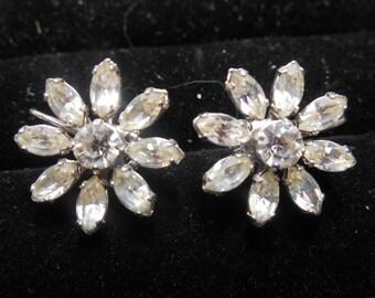 Vintage Rhinestone Earrings Flower Design Screw Backs