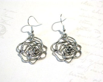 Silverplated Rose Earrings, Elegant Earrings, Dangle Earrings, BFF Gift, Christmas Earrings, Christmas Gift, Gift for Mom