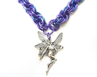 Blue faerie necklace, Purple and blue chainmaille jewelry, Large fairy necklace