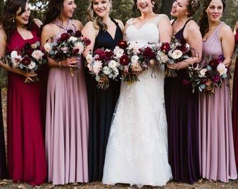 Coralie Beatrix Long Maxi Octopus Convertible Infinity Wrap Dress. Custom Choose Fabrics- Bridesmaids, Wedding, Prom