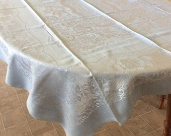 Light Blue Damask Tablecloth-52x74 inches