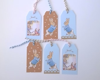 6 labels bunnies, 3 patterns, color sky and chocolate