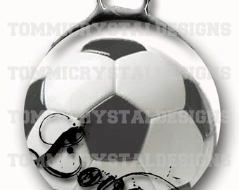 """1.5"""" Soccer MOM Soldered Art Collage Charm (also comes with no wording)"""
