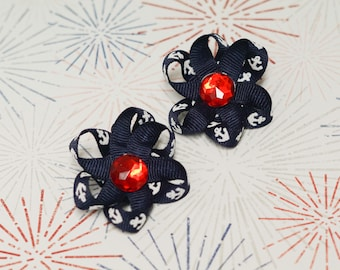 """Pigtail Bows - navy blue, white & red - set of two 2"""" pinwheel ribbon bow on shoe clip - anchors, rhinestone gem -  toddler, child, kid"""