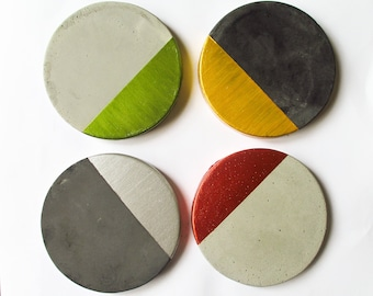 Modern coasters - Coasters set -  Modern decor - Modern home decor - Concrete coasters - Coasters for men - Gift for dad - Gift for husband