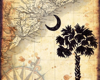 South Carolina Map Art - Palmetto State - Charleston - South Carolina - Palmetto Tree and Crescent Moon - Beaufort - Hilton Head Island - SC