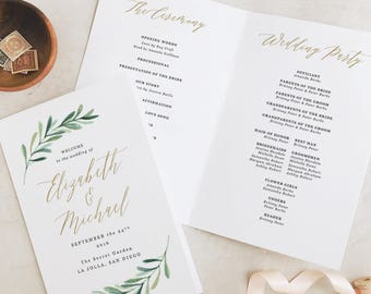 Greenery Wedding Programs Template, Printable Wedding Folded Program, Garden Rustic Theme | Edit in Word and Pages
