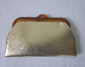 1960s Metallic Gold Vinyl Clutch Handbag