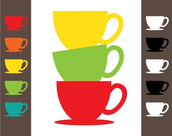 Colorful Teacup Clipart - 10 Teacup and 10 Saucer