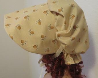 Women's Pioneer Prairie Victorian Civil War Bonnet Sunbonnet Primitive, trek, historical, hat, reenactment, 1800's, yellow beige tan, fruit