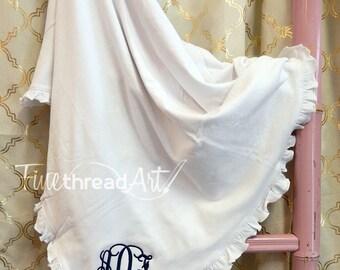 Monogram Ruffle Blanket in White for Infant Baby Girl