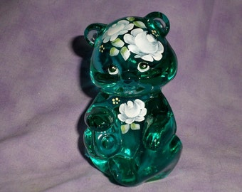Rare Fenton hand painted bear signed by S Walters