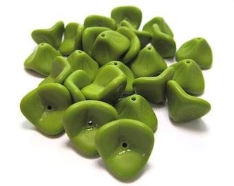 Three Petal Matte Opaque Olive Green Czech Glass Flowers - 25 pieces