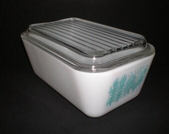 Pyrex pétales réfrigérateur plat boîte Turquoise coq Amish maïs