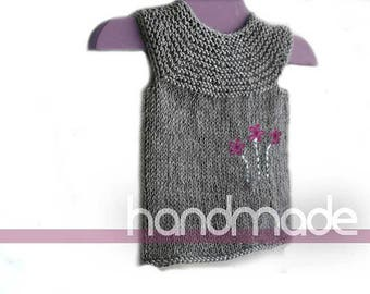 Little Girls Hand knit vest / gray vest / merino extra fine vest / Baby Girl Sweater / gift for baby girl / girl clothes