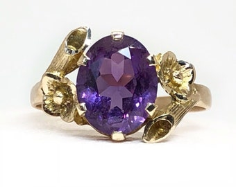 Vintage 10K Solid Yellow gold Purple Amethyst Cluster Floral Ring Size 9.25