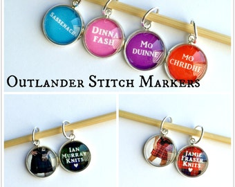 MADE TO ORDER: Outlander Themed Stitch Markers (Set of 8) w/ Coordinating Large or Small Storage Tin