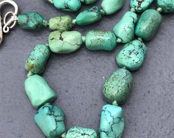 Blue Green Turquoise beaded Necklace .  Turquoise Nuggets . Chinese jewelry
