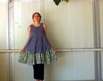 Liberty Fun Layered Summer Dress - Tunic - recycled shirt - cotton Dress - sleeveless by Kathrin Kneidl