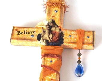 Decoupaged Wall Cross Decorated Crucifix Virgin Mary Madonna and Child Catholic Art Christian Art  Religious Easter Mothers Day Gift for Mom