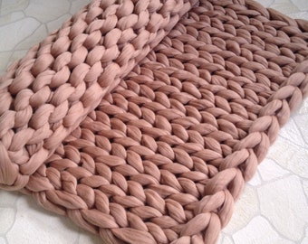 Chunky knit blanket. Chunky knit throw. Merino wool blanket. Arm knit blanket. Super chunky blanket. Thick knit blanket. Fathers day gift