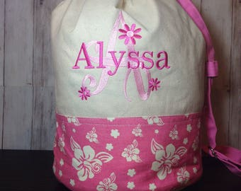 Girls Beach Duffle/Canvas duffle/Personalized embroidered beach duffle for girls
