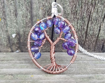 Tree of Life Necklace, purple, copper pendant, tree of life pendant, tree of life jewelry, necklace, copper, purple pendant