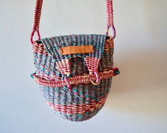 Basket Purse || Woven Bag || Boho Cross-body Handbag
