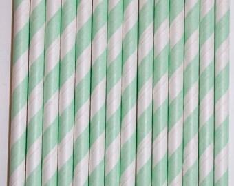 100 mint stripe straws paper straws birthday party wedding cake pop sticks Bonus diy straw flags