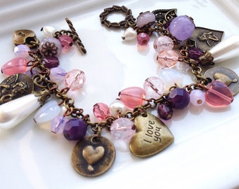Cupid Love Charm Bracelet, Hearts Charm Bracelet, Friendship Charms Bracelet, Purple Pink Beaded Bracelet, Personalised Bracelet