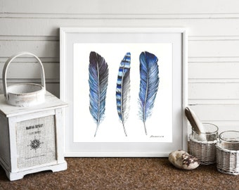 Feather Watercolor Painting Blue Feather Artwork Original Feather Painting Feather Wall Art Feather Wall Decor Nursery Art Boy Room Decor