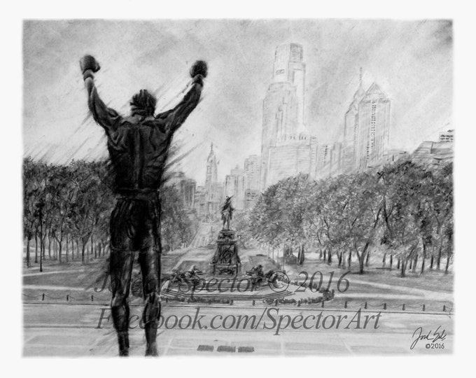 Rocky Balboa - Rocky - Art Print - Black and White - Rocky Decor - Philadelphia Skyline - Creed - Rocky Steps - Philadelphia - Art