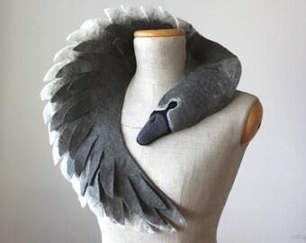 Ugly Duckling - Grey Swan (dark version) - felted wool animal scarf, stole / shrug