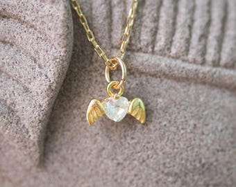 Gold Colored (Brass)  Necklace with Dainty Winged White Diamond