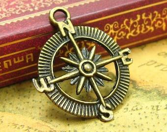 10 Compass Charms pendant in Antique Bronze, destination wedding decor, travel themed party favor decor, party favor box