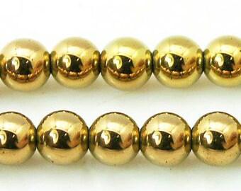 8mm Hematite Beads Golden Round Golden Hematite 8mm Golden Beads 8mm Hematite Gemstone Hematite Genuine Hematite Natural Hematite