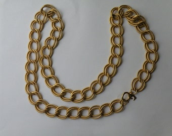 Pierre Cardin  Double Link Textured Gold Tone Chain with Signature Logo