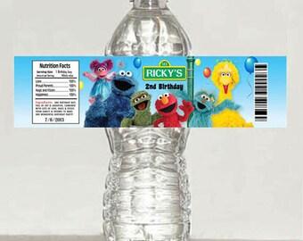 Printable Sesame Street Elmo birthday water bottle label