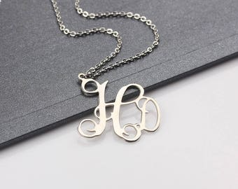Personalized Monogram Necklace - Initial Name Monogram Jewelry - Custom Monogram Necklace - Initial Necklace in Rose gold, Silver, Gold