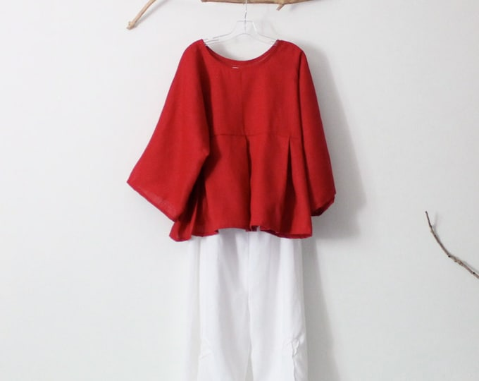 linen outfit kimono dolly top with rose tuck wide leg pants  handmade to measure petite to plus size / super roomy blouse / empire waist