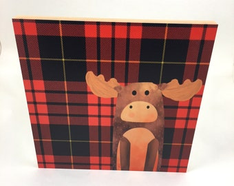 Moose on red plaid background,Wall Art, Cabin or Nursery Decor, Colorful Graphic Art print on wood, Wood Wall Art