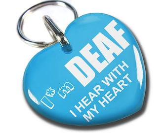 Personalized Custom ID Tags for dogs and cats Deaf hear with heart
