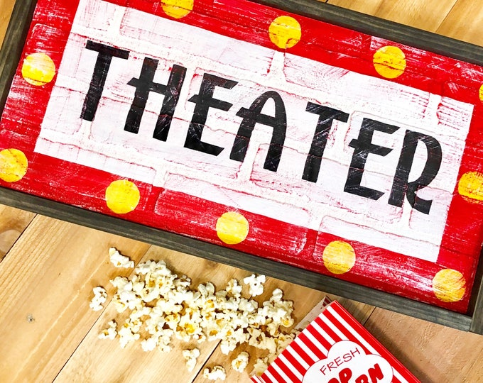 Home Theater Sign. Home Theater Decor. Movie Art. Movie Night. Theater Gifts. Rustic Home Decor. Farmhouse Signs. Family Room Sign.