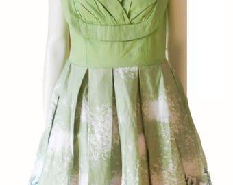 Women's Green 1950s 60s Style Rockabilly Dress, Vintage Pinup Party Dress,Novelty Forest Print Size L/XL