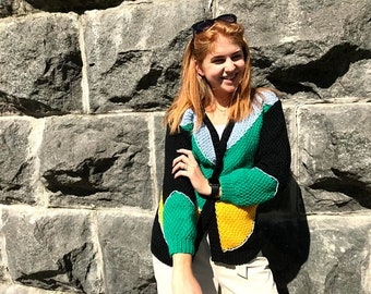 Color block knitted jacket cardigan, cable knit sweater, chunky cardigan, colorful bomber, oversized wool sweater, summer kimono mother gift