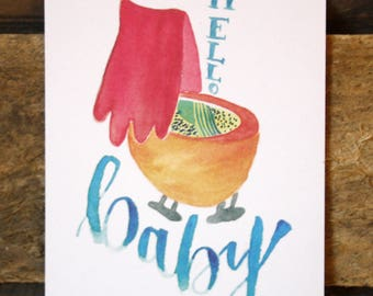 Postcard-Hello Baby card, greeting card, baby, colorful, sweet