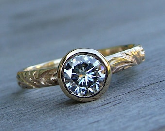 Moissanite Ring in Recycled 14k Yellow Gold - Wedding / Engagement Ring - Forever One GHI - Scroll Patterned Band - Diamond Alternative