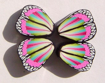 Royalty Butterfly Wing Handmade Artisan Polymer Clay Beads