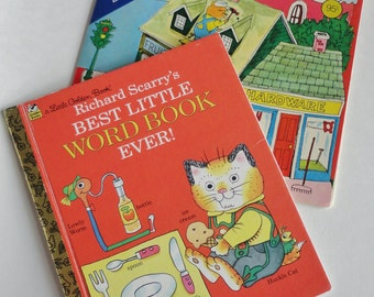 2 book SET Vintage Richard Scarry Busytown - Best Little Word Book Ever & At Work - Little Golden book, Golden Look Book, Kids Reading Gift