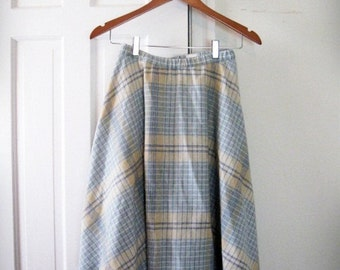 SALE! 1970s Blue Plaid Skirt Vintage // extra small, small 0 2 4 fit and flare librarian seventies wool